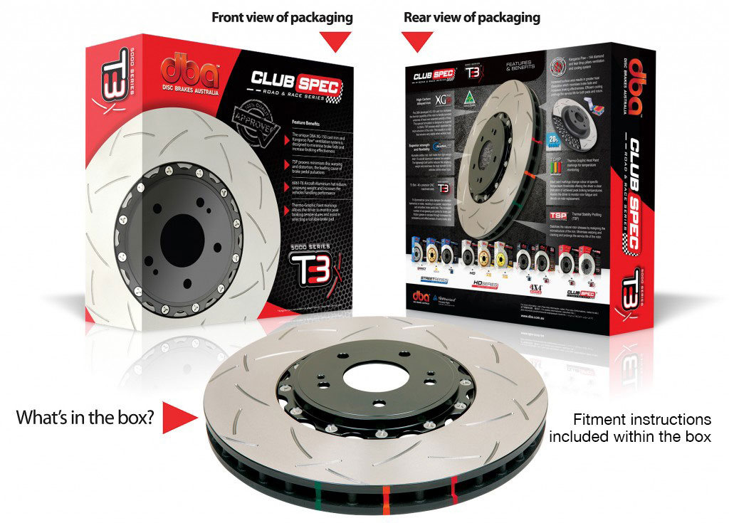MITSUBISHI EVO X - FRONT - DBA BRAKE DISCS T3 5000 Series - 2 Piece - 350mm - Road & Race
