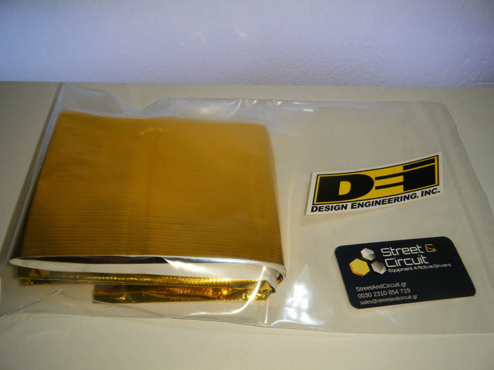 DEI Reflect-A-GOLD 30cm x 30cm Sheet - 450C MAX - Reflects Heat From Electrics/Pipes/Hoses/Battery - *BULK* Packaging See Photo