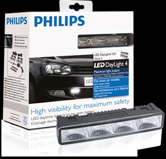 Philips LED DRL Daylight 4 Φώτα ΣΕΤ - High Intensity LUXEON LED - 12v, 6000K - ECE Compliant - 4 LEDs each side