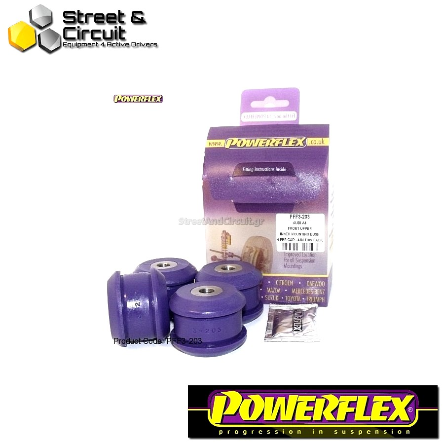 | ΑΡΙΘΜΟΣ ΣΧΕΔΙΟΥ 3 | - Powerflex ROAD *ΣΕΤ* Σινεμπλόκ - A4 / S4 / RS4 (B5) 1995 - 2001 A4 (2WD) 1995 - 2001 - Front Upper Arm To Chassis Bush Code: PFF3-203